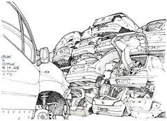 casse de voitures, à Jupille (gerard michel) Tags: auto sketch belgium liège croquis jupille