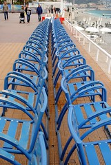 Chaise bleue huit (zawtowers) Tags: blue sea vacation holiday france french nice mediterranean riviera break chairs side landmark right cte des promenade april iconic chaise bleue facing dazur anglais 2016