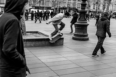 Get your skates on! (Sbastien Gross) Tags: blackandwhite paris 35mm fuji candid streetphotography skate 2016 x100 project365