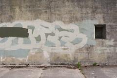 Unknown Script (splorp) Tags: blue usa green texture window wall concrete grey graffiti washington paint exterior gray cement sequim fortworden