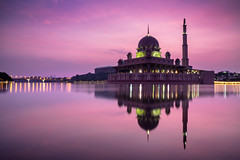 Putra mosque (Patrick Foto ;)) Tags: city morning travel sunset red sky lake reflection building tourism nature water beautiful architecture modern sunrise river landscape asian evening worship asia view dusk minaret muslim islam famous religion pray culture landmark scene mosque structure malaysia dome kuala putrajaya masjid lumpur allah islamic putra wilayah