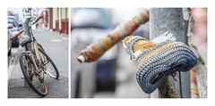 Knit One, Pedal One! (red stilletto) Tags: streetart art bicycle knitting seat fitzroy knit yarnbombing