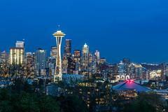 Blue Hour in Seattle (Mike M Martin) Tags: seattle park blue canon washington cityscape kerry hour cityskyline t2i canonfanphoto