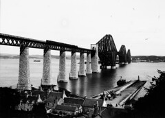 Forth Bridge with steam train. Victorian Negative (Parsonago) Tags: old original vintage found scotland photo south north negative photograph scots queensferry