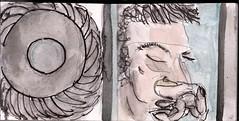 die Messer sausten an ihm vorbei. Das Rad lief nur wenn der Glaskasten geschlossen war. Unten drckte die Abdeckung auf den Schalter. Der Mechanismus konnte ihn nicht berlisten (raumoberbayern) Tags: summer bus pencil subway munich mnchen sketch drawing sommer tram sketchbook heat ubahn draw bleistift robbbilder skizzenbuch zeichung