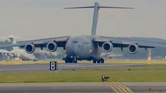 Back on the Ground (J @BRX) Tags: uk england usa suffolk transport landing c17 boeing usaf usairforce mcdonnelldouglas rafmildenhall globemasteriii mcguireafb 77178 march2016