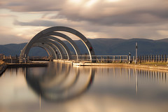Falkirk Wheel (Iain McGregor) Tags: uk sky cloud water reflections scotland canal outdoor falkirkwheel