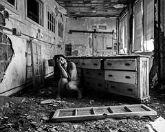 Screaming in Place (sadandbeautiful (Sarah)) Tags: bw woman selfportrait abandoned me female self nj psychiatrichospital urbex