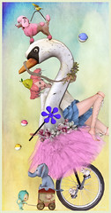 Life is a Circus (Jewel Appletor aka Karalyn Hubbard) Tags: life pink flowers elephant bird art mouse monkey swan artwork truth artist circus go digitalart surreal fantasy unicycle pilot tutu whimsical trompeloeil lode funandgames loeil lwl mishmish gfield ohmai