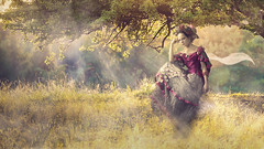 In The Meadow (Carrie Alves) Tags: woman art sunshine forest photoshop meadow