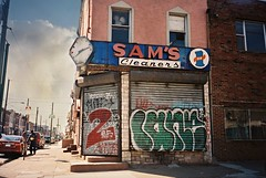 DR3-041-19 (David Swift Photography Thanks for 15 million view) Tags: signs abandoned film philadelphia 35mm graffiti olympusstylusepic urbandecay storefronts clocks oldsigns abandonedhouses securitygates kodakportra pointbreeze abandonedstorefronts davidswiftphotography