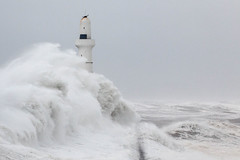 wild this morning! (Karen Burgoyne) Tags: winter wild lighthouse storm waves windy northsea breakwater
