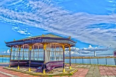 New Brighton (Dancin K & H) Tags: new uk blue sky lighthouse lake bus pool clouds liverpool bench marine brighton victorian seats promenade shelter mersey wirral merseyside