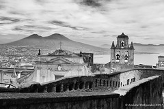 View of Vesuvius and Naples from Castel Sant'Elmo (Andrzej Wodzinski) Tags: blackandwhite bw italy white mountain black monochrome canon photography eos photo europa europe italia elmo monochromatic andrew napoli naples vesuvius fotografia santelmo castel czarny lrps andrzej zamek włochy biały neapol 70d wodzinski czarnobiały canoneos70d andrewwodzinski salonpolski andrzejwodzinski andrzejwodzinskilrps wezuwjusz