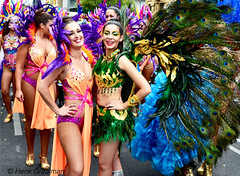 Proud as peacocks (railfan3) Tags: street costumes girls brazil dancers australian feathers australia peacock parade adelaide brazilian labamba bikinis victoriasquare skimpy australiaday2016