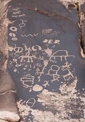 Petroglyphs / Newspaper Rock Site (Ron Wolf) Tags: horse archaeology circle utah fremont deer ute petroglyph footprint anasazi anthropology rockart bowandarrow zoomorph newspaperrock anthropomorph wavyline anthromorph connectedcircles