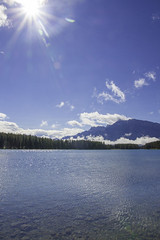 Two Jack Lake, Banff National Park (Bluesilver85) Tags: park light sky sun mountain lake canada mountains nature water relax landscape lago nationalpark parks explore alberta enjoy banff rays montagna paesaggio twojack minnewanka lovecanada