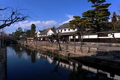 Kurashiki in winter (Shinya Kawai) Tags: trip travel blue white tree water japan river canal path sightseeing townscape okayama kurashiki