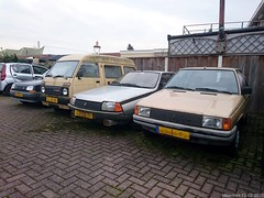 Renault 9 Aut. 1984 (KY-34-PJ) & Renault Fuego GTX 1980 (GJ-08-ZP) & Daihatsu Mini 850 1982 (SL-25-BV) & Renault 5 1.4 TR 1989 (XX-09-KH) (MilanWH) Tags: 1982 5 14 9 mini renault 1984 1989 fuego 1980 enschede tr 850 daihatsu gtx ky34pj gj08zp sl25bv autoterriet xx09kh