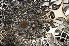 Inner Framework II (Ross Hilbert) Tags: art metal bronze silver gold chaos julia steel digitalart computerart fractal escher brass pewter mandelbrot lsystem generativeart juliaset sierpinski mathart fractalart algorithmicart mandelbrotset orbittrap fractalsciencekit