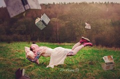 Hayley - Grim Blossom (Zoe leanne Photography) Tags: pink trees portrait field grass landscape flying nikon dress boots blossom sleep dr dream floating levitation books tattoos pillow martins hayley floaty flowy manipilation d7000