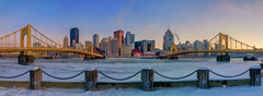 Fading Light Panorama (Brad Truxell) Tags: city sunset panorama snow cold ice pittsburgh bridges hdr alleghenyriver sigma1020mm nikond7000