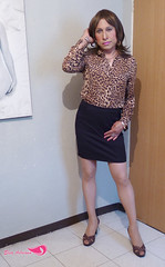 Office Tgirl (Elsa Adriana) Tags: animal print office adriana tgirl elsa