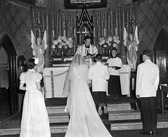 P_0008_0010.jpg (The Digital Shoebox) Tags: wedding people 1948 church groom bride couple events year group ceremony location indoors activity