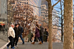 Doesn't this look a lot like the High Line? (sjnnyny) Tags: nyc reflection walking landmark tourists visitors lowermanhattan highline landscapearchitecture stevenj worldtradecenterny k5iis sjnnyny reflectionglassarchitecture 911memorialandmusuemny
