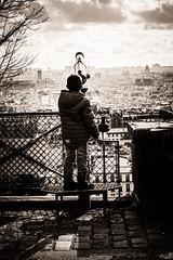 Urban astronomy (cedhic) Tags: boy people bw panorama white town noir butte child montmartre nb teen nuage nuages et enfant blanc vue ville photorue parispoeticstreetcandid