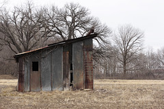 A Little Drafty 02262016 (Orange Barn) Tags: empty shed baretrees outbuilding barebranches barefield peoriaheightsillinois 116picturesin2016