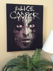 Alice Cooper Purple and White T Shirt Wall Hanging (LookHappyShop) Tags: black green art college rock wall dark print bedroom purple graphic recycled dorm gothic goth tshirt livingroom canvas jersey horror shock hanging etsy decor tee accent alicecooper repurposed reconstructed mancave upcycled lookhappy