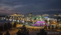 Ashgabat (Rolandito.) Tags: city night dawn lights town twilight illumination center illuminated turkmenistan ashgabat