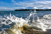 Splosh! (Simon Downham) Tags: sea wet water rock seaside tide spray foam splash bembridge splosh