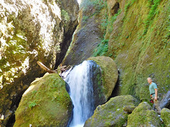 Sean Malone by cave waterfall (Forest Service Pacific Northwest Region) Tags: valhalla canyon slotcanyon geology willamette willamettenf willamettenationalforest nationalforests nationalforest usforestservice oregon valhallacanyon