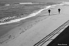 Beach Rethymnon (Eleanna Kounoupa) Tags: sea people blackandwhite bw beach water waves greece crete rethymnon       blackwhitephotos