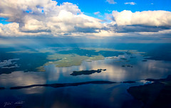 Fly away (Jani Mäkelä) Tags: summer sky lake nature water up weather june clouds forest finland airplane landscape island flying high day shadows view air horizon sunny calm noon ultra pilot päijänne 2015 sunline