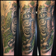 Fun sleeve in progress, mojobox shader is a beast! @dankubin #raccoontattoo #poochtattoo #alteredstatetattoo