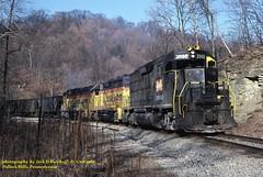 MGA 2002, CO 6531, BO 6917, sb, Pollock Mills, PA. 1-08-1986 (jackdk) Tags: railroad train railway co locomotive bo coal mga chessie monongahela chesapeakeandohio emd gp382 baltimoreandohio gp38 gp30 coaltrain chessiesystem gp35 coaldrag emdgp38 emdgp35 emdgp30 standardcab emdgp382 monongahelarailway pollockmills