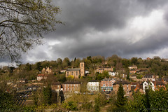 The light begins to fade in the City on the Hill (OR_U) Tags: uk bridge houses england tree church weather clouds landscape village hill ironbridge gorge oru 2016