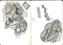 First (unofficial) zentangle effort (vidalia_11) Tags: illustration amusement drawing sketchbook coloring pendrawing doodling