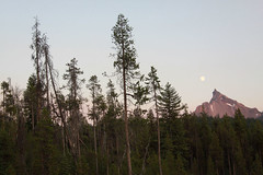 Sunset-Moonrise, Mount Thielsen, Oregon, USA (nikname) Tags: trees oregon sunsets fullmoon cascades forests diamondlake stateparks cascademountainrange oregonstateparks mountthielsen usanationalparks stateforests highcascades theringoffire usanationalforests mountthielsenoregon diamondlakenationalpark