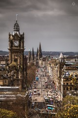 Hubbub (Augmented Reality Images (Getty Contributor)) Tags: old flowers people clock church buses architecture clouds canon buildings shopping landscape scotland ancient edinburgh cityscape rooftops crowd transport clocktower monuments trams caltonhill gorse auldreekie leefilters