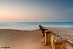 Moon and Sunrise at Bournemouth Beach (mpelleymounter) Tags: wood moon seascape sunrise sand waves dorset groyne bournemouth bournemouthbeach alumchine sandandsea leefilters dorsetlandscape dorsetseascape alumchinebeach markpelleymounter