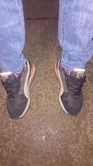Feet at Night: No.19 (WatermelonHenry) Tags: orange black feet night garden purple pair trainers pointofview jeans nighttime paving bluejeans puma tx3 denin sneekers colourway candidfeet feetatnight