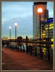 Salford Quays (foggyray90) Tags: night streetlamps salfordquays bbc bluehour salford multistorey manchestershipcanal mediacity foggyray90 niksunlightfilter