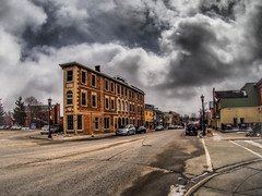 Storm Brewing (ildikoannable) Tags: ontario storm building weather architecture streetphotography wideangle olympus fisheye hdr stormcloud smalltown elora winterstorm