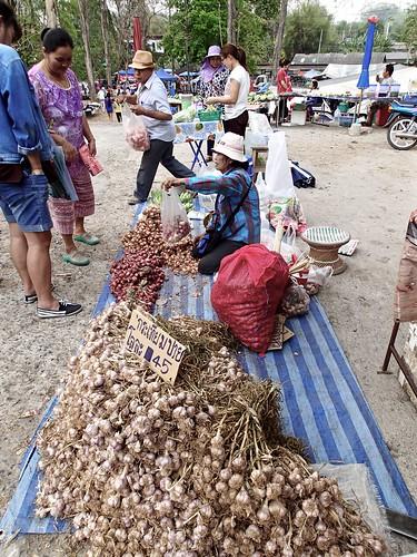 fresh garlic at the village market