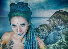Mermaid at Lulworth Cove (RedPlanetClaire) Tags: blue sea woman green water coast model cove surreal fantasy scifi aquatic mermaid lulworth