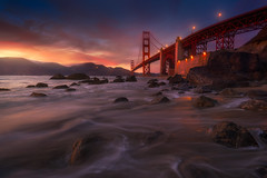 Dark Link (albert dros) Tags: sanfrancisco bridge blue sunset sea seascape water landscapes rocks bridges goldengate bluehour albertdros